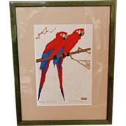 1920's Martin Erich (M.E.) Philipp Original Woodblock Print, Red Macaw Parrots, Framed