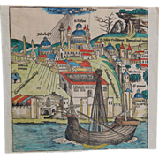 """Antique 15th century Renaissance Woodblock Print of Byzantium from the """"Nuremberg Chronicle"""" , Hand-colored"""