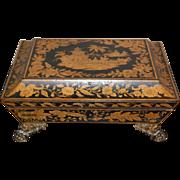 19th century Georgian / Regency Period Chinoiserie Lacquered Penwork Tea Caddy / Writing / Jewelry Box