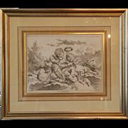 SET 18th century The Four Seasons Four Prints, Etching and Engraving by Louis Felix de La Rue (After Francois Boucher) Antique