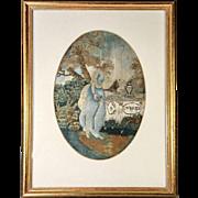 18th century Georgian Silkwork Silk Embroidery Work, Charlotte Mourning Werter