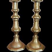 19th century English Victorian Brass Candlesticks, Very Tall Pair