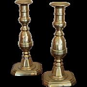 19th century English Victorian Brass Candlesticks, Rare Tall Pair