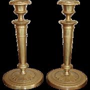 19th century French Charles X Ormolu Gilt Bronze Candlesticks, Pair, Empire / Restauration period