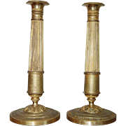 19th century French Charles X Ormolu Gilt Bronze Pair of Candlesticks, Empire / Restauration, Christie's Provenance