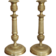 19th century French Charles X Gilt Bronze / Brass Pair of Candlesticks, Empire / Restauration Period