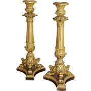 19th / 20th century Empire Style Gilt Bronze Ormolu Pair of Candlesticks, French