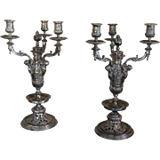 19th century Victorian Renaissance Revival Three Light Candelabra / Candleholders , Large Silverplate
