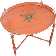 20th century Italian Tole Tray on Stand or Occasional Table, Neoclassical Pattern, Vintage / Midcentury