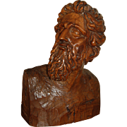 Late 19th / 20th century Italian Pine Wood Carved Bust of a Male Saint, Baroque Style
