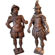 17th century Baroque Renaissance Wood Carved Sculpture / Statue of Achilles and Hector, Dutch Large Pair Antique