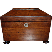 19th century Georgian or Regency Tea Caddy with Mother of Pearl Inlay , Sarcophagus or Casket Shaped Box, English Antique