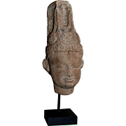 EXHIBITED 9th century Indian Sandstone Head / Bust of God Vishnu , Published, India Sand Stone Sculpture