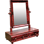 Early 19th century Federal Empire Sheraton Dressing Shaving Table Mirror Mahogany Flame American