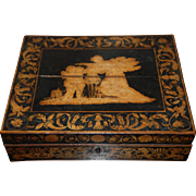 19th century Georgian / Regency Period Neoclassical Lacquered Penwork Tea Caddy / Writing / Jewelry Box