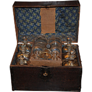 18th century Ship Captain's ( or Traveler's) Liquor Chest / Set , Pine Box with Stiegel Glass Decanters