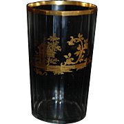 18th century Venetian Leaded Crystal Faceted and Gilt Decoration Glass Chinoiserie Motif