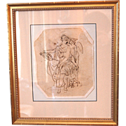 Theodor Mintrop Pen or Ink Drawing on Paper , Allegory of Industry , Classical Figures , Antique Framed 19th century German