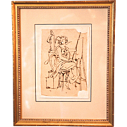 Theodor Mintrop Pen or Ink Drawing on Paper , Allegory of Painting , Classical Female Figure , Antique Framed 19th century German