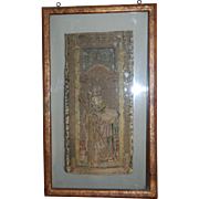 15th century Renaissance / Late Medieval Flemish Framed Embroidery Saint Andrew the Apostle