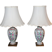 19th century Pair of Samson Porcelain Vase as Lamps, Chinese Export Famille Rose Style Vases French Antique