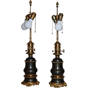 19th century Pair of Gilt Brass and Tole Oil Lamp electrified as Lamps Antique Rococo
