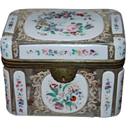 Antique Bohemian Overlay Glass Casket Box , early 19th century with French Rococo Floral Design