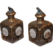 Late 19th century French Perfume Bottles with Miniature Paintings , Gilt Brass and Cut Crystal