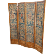 16th century Mythological Brussels Tapestry Four Panel Folding Screen , Renaissance Period