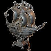19th century German Pewter Sailing Ship Santa Maria Novella Columbus