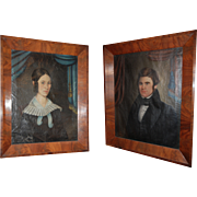 19th century American Primitive Pair of Wedding Portraits , Early Folk Art Paintings Painting Oil on Canvas Empire Period