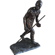 Large 19th century German Bronze Sculpture of a Male Worker Signed by Julius Obst , Meunier Follower