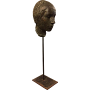 20th century Signed Sculpture Bronze Bust or Head of a Lady William Lasansky Mid Century Female