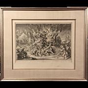 "17th century Dutch Master Print by Romeyn de Hooghe Allegorical Figures of War Defeat of France (Louis XIV) , Antique  ""Schouwburg der Nederlandse Verandering"" Etching"