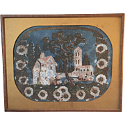 Early 19th century American Wallpaper Painting Fragment, Framed, Folk Art, Americana