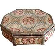 18th century English Wool Needlework Embroidery Bargello Flame Stitch Work Casket Box , Queen Anne Georgian