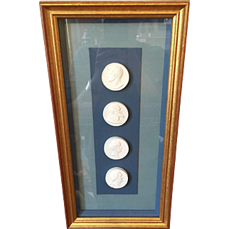 Framed 19th century Set of Four Plaster Intaglios , Grand Tour Intaglio Portraits in Shadow Box