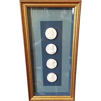 19th century Framed Grand Tour Plaster Intaglio Portraits , Set of 4 Intaglios in Shadow Box