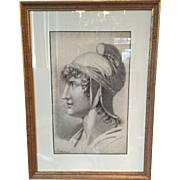 19th century Neoclassical Profile Drawing / Portrait of a Youth in a Phrygian (Liberty) Cap