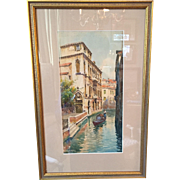 Late 19th / Early 20th Venetian Landscape by Italian Luigi Baldo (1884-1961) watercolor painting of Venice canal and gondola