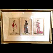 French Empire Period Parisian Fashion / Costume Prints , early 19th century