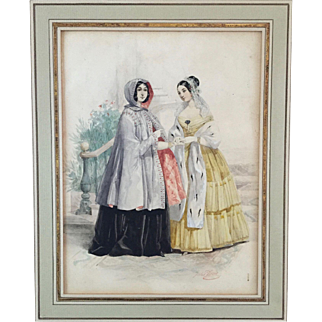 Mid 19th century French Fashion / Costume Study Original Watercolor by Jules David