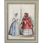 Mid 19th century French Fashion / Costume Study Original Watercolor Painting by Jules David