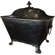19th century Large Chinoiserie Painted Tole Box or Chest (Coal Hod / Wine Cooler )