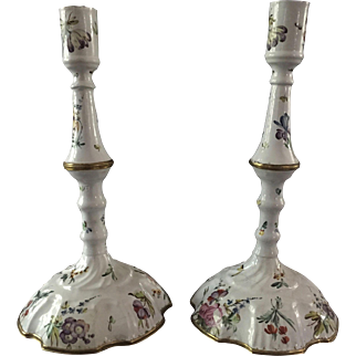 18th century Battersea Bilston Pair of Floral Decorated Enamel Candlesticks , English