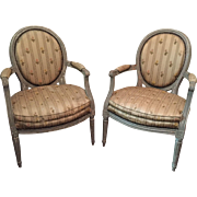 Late 18th century Louis XVI Grey Painted Neoclassical Pair of Open Arm chairs / Fauteuils , French