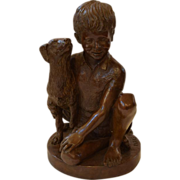 """Charles Parks """"Boy and his Dog"""" Bronze Sculpture"""
