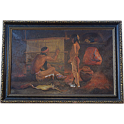 """Attributed to E. Irving Couse """"The Master Workman"""" Santa Clara Weaver Oil on Canvas"""