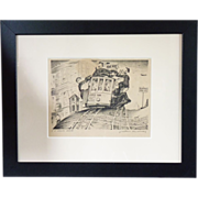 Justin Murray Set of 4 Street Car scenes in San Francisco penciled signed and titled lithographs
