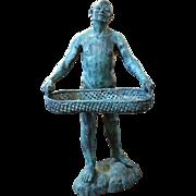 Rare Bronze Sculpture Servant Holding Tray